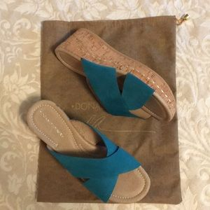 Donald J Pliner cork wedge turquoise suede shoes.